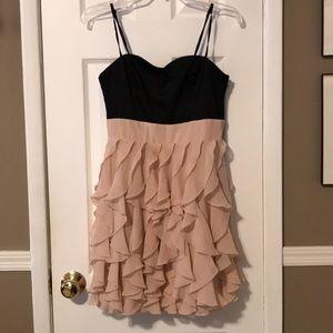 H&M black top pink ruffle bottom dress